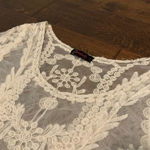 Annabelle Tops - 1X sheer white cream lace blouse